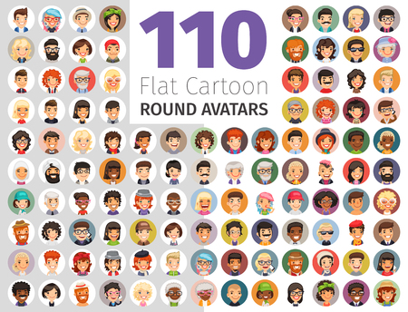 Platte cartoon ronde Avatars grote verzameling Stock Illustratie