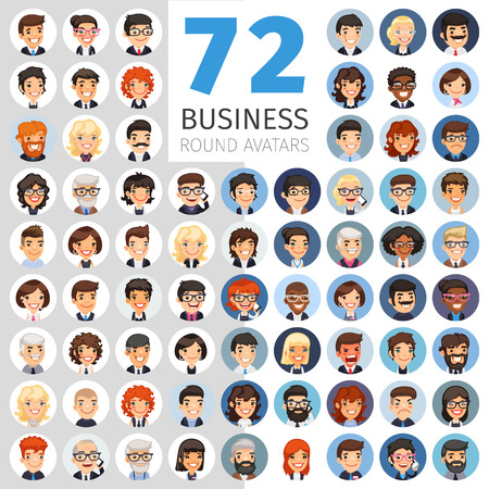 Flat Businessmen Round Avatars Big Collection 版權商用圖片 - 74502466