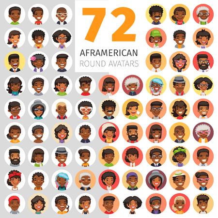 Flat African American Round Avatars