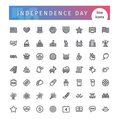 USA Independence Day Line Icons Set Illustration