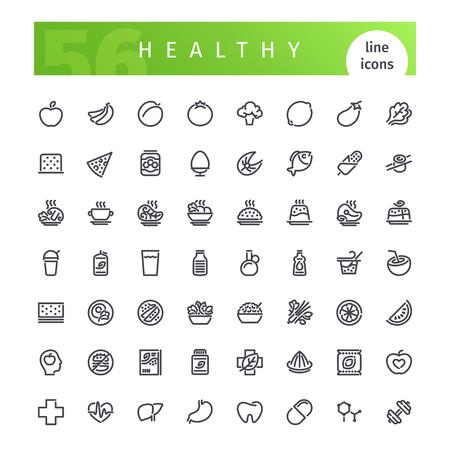 Gezonde Food Line Icons Set Stockfoto - 77165754