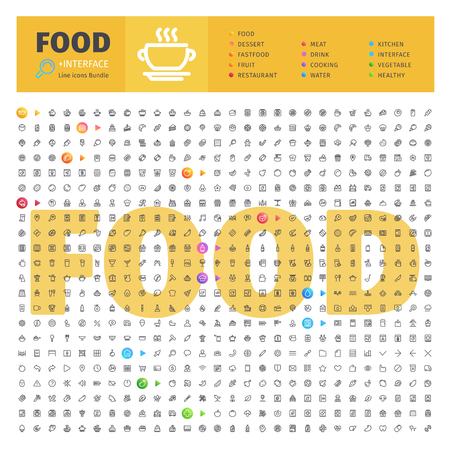 Food Thematic Collection of Line Icons Stock Vector - 81725831