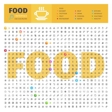Zbiór tematycznych ikon żywnościowych