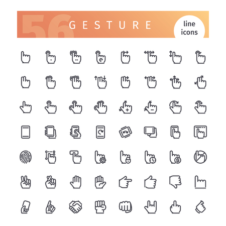 touch screen interface: Gesture Line Icons Set