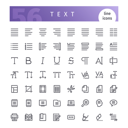 artboard: Text Line Icons Set