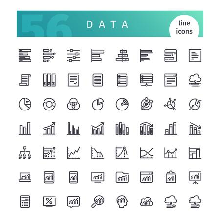 information analysis: Data Line Icons Set