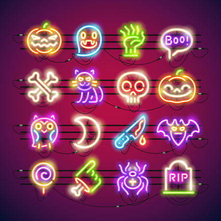 Set of neon halloween icons.
