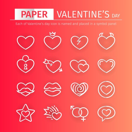 Set of paper Valentines day icons suitable for your romance holiday projects. Each of icon is named and placed in a symbol panel.