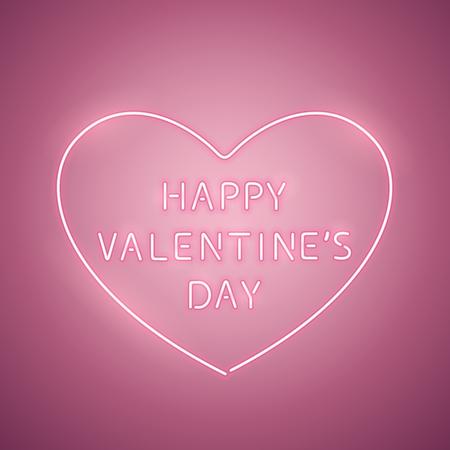 Happy Valentines Day Heart Rose Neon Banner