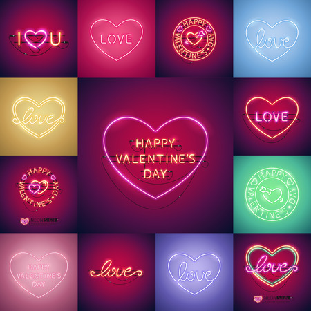 Happy Valentines Day Neon Set