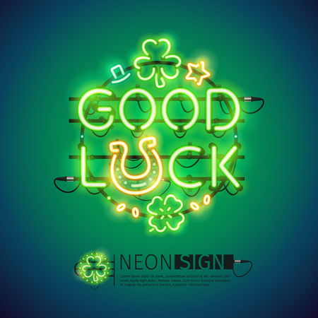 St Patricks Day good luck glowing neon sign. Illustration