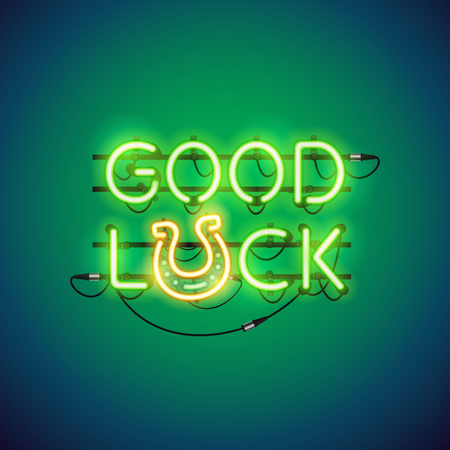 Good Luck Neon Sign Illustration