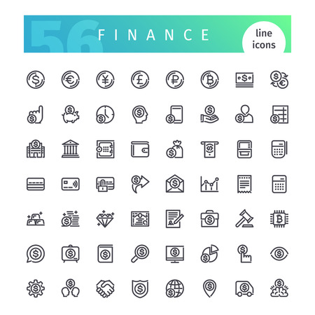 Finance Line Icons Set Vectores