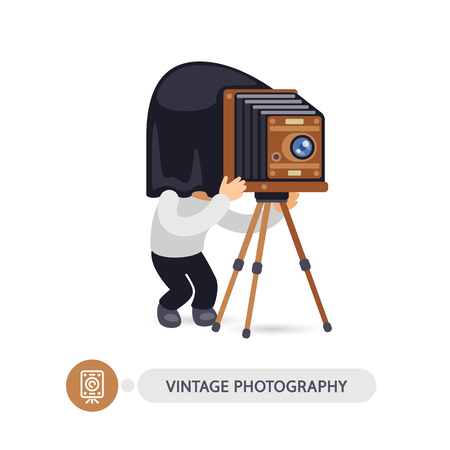 Cartoon flat character of vintage photographer with old camera. Isolated on white background. Clipping paths included.