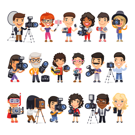Cartoon flat characters of photographers in various poses with cameras and equipment. Isolated on white background. Clipping paths included.
