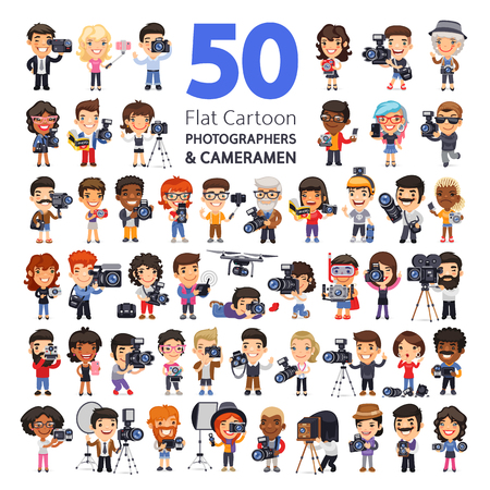 Big set of 50 flat cartoon characters of photographers and cameramen in various poses with cameras, camcorders and equipment. Isolated on white background. Clipping paths included. Vektorové ilustrace