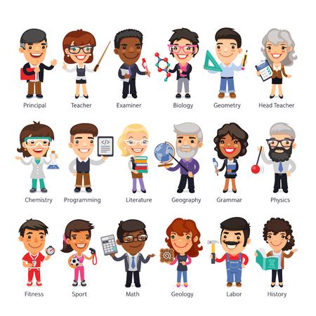 Personajes planos de dibujos animados de profesores en varias poses. Aislado sobre fondo blanco. Trazados de recorte incluidos. Ilustración de vector