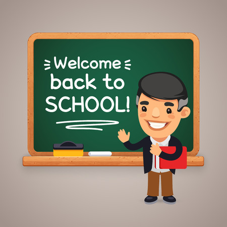 Cartoon flat characters of teacher at the blackboard. Welcome back to school inscription. Clipping paths included.