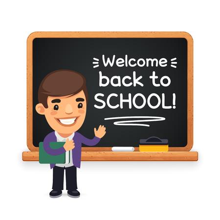 Personaje plano de dibujos animados del profesor en la pizarra. Bienvenido de nuevo a la inscripción de la escuela. Trazados de recorte incluidos.