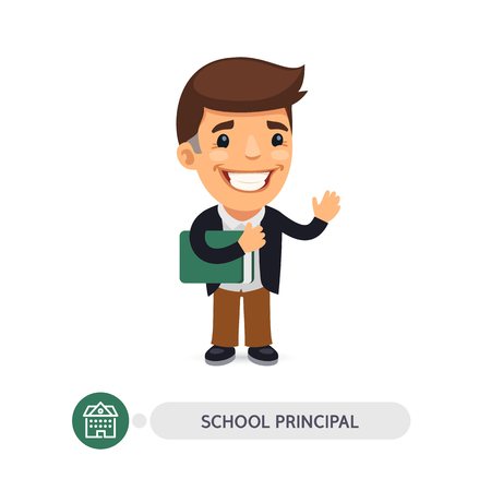 Cartoon flat character of school principal. Head teacher with book. Clipping paths included. Illustration