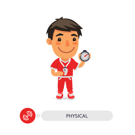 Cartoon flat character of physical education teacher with a stopwatch. Clipping paths included.