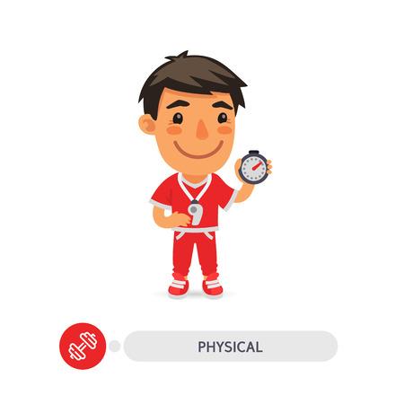 Cartoon platte karakter van leraar lichamelijke opvoeding met een stopwatch. Uitknippaden inbegrepen.