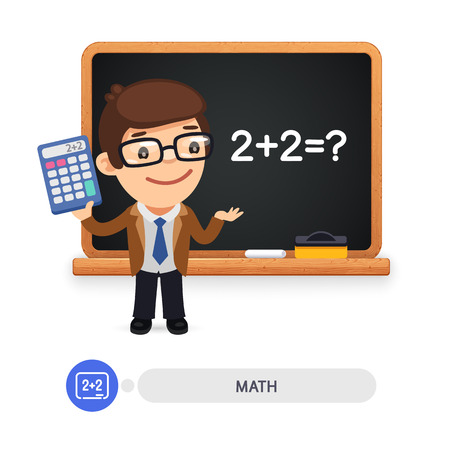 Cartoon flat character of mathematics teacher stands by the blackboard. Clipping paths included.