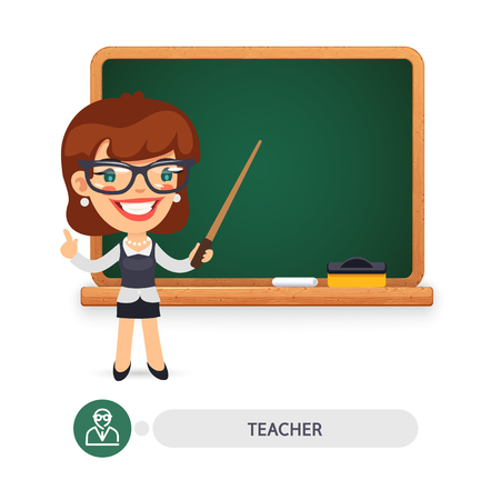 Cartoon flat character of female teacher at the school blackboard. Clipping paths included.