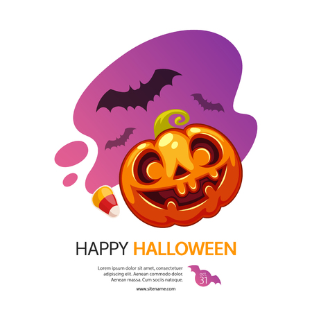 Happy Halloween greeting card on white background with pumpkin Jack. Cute cartoon banner. Clipping paths included. Vettoriali