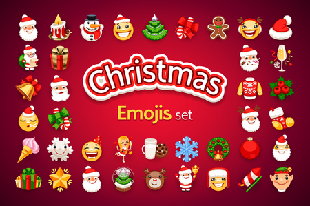 Christmas emojis set. Santa Claus, snowman, smiley and other characters. New Year emoticons on red background. Clipping paths included.