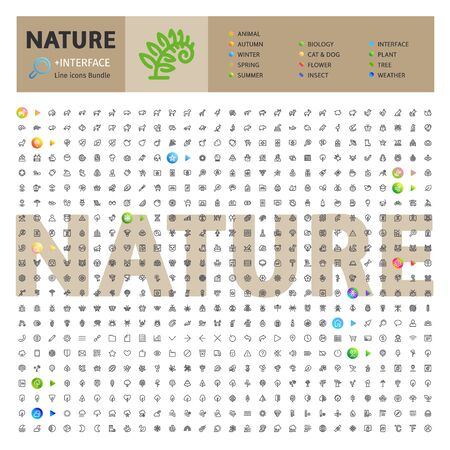 Nature Thematic Collection of Line Icons