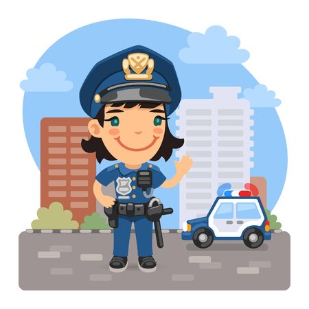 Cartoon Policewoman on the Street Illustration