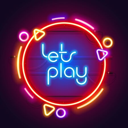 Round Colorful Neon Lets Play Sign