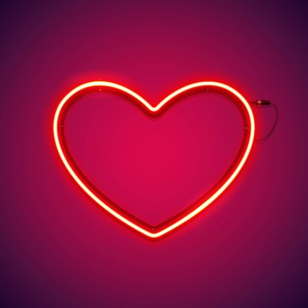 Red Romantic Neon Heart Çizim