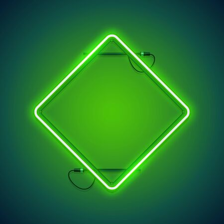 Square rhombic green neon frame makes it quick and easy to customize your projects in retro-futuristic style.