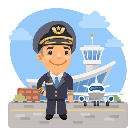 A cartoon smiling pilot of the plane stands on the background of the airport and airbus. Composition with a professional man. Flat male character. Ilustrace