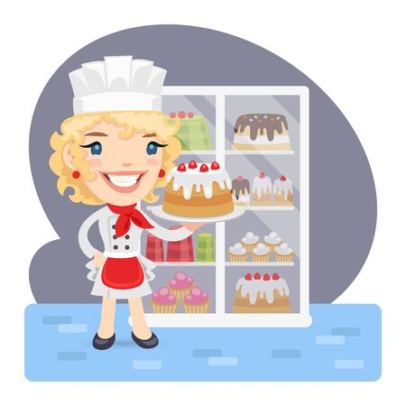 Cartoon Baker Girl with Cake