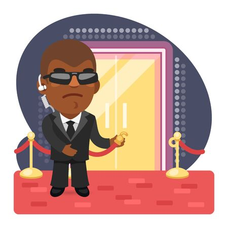 Cartoon Bouncer at the Entrance to a Nightclub Illustration