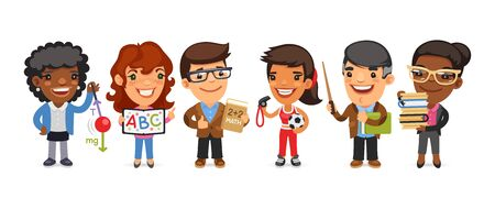 Cartoon Teachers Men and Women Ilustración de vector