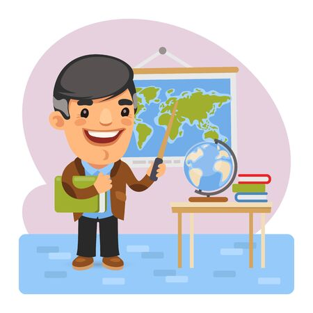 Cartoon Geography Teacher Vettoriali