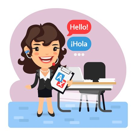 Cartoon Businesswoman Language Translator