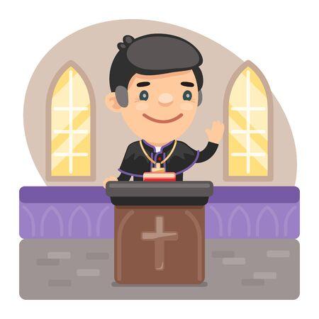 Cartoon Priest at the Pulpit Vektoros illusztráció