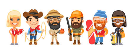 Cartoon Worker Characters with Different Professions