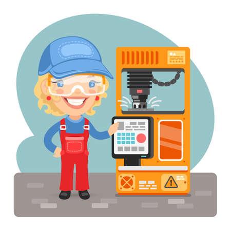 Cartoon Milling Machine Worker Illustration