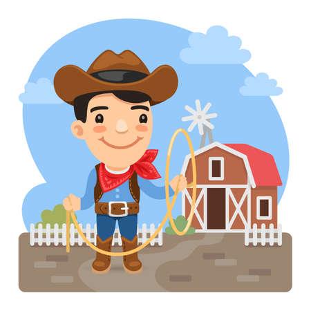 Cartoon Cowboy on Farm