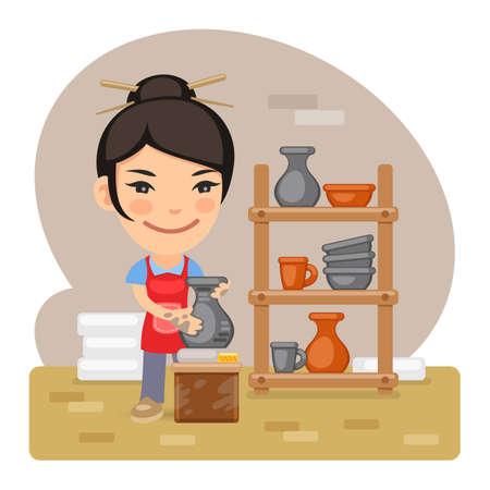 Cartoon Woman Potter