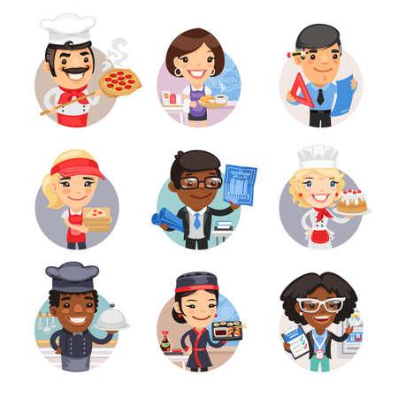 Cartoon People Avatars with Different Professions Ilustracja