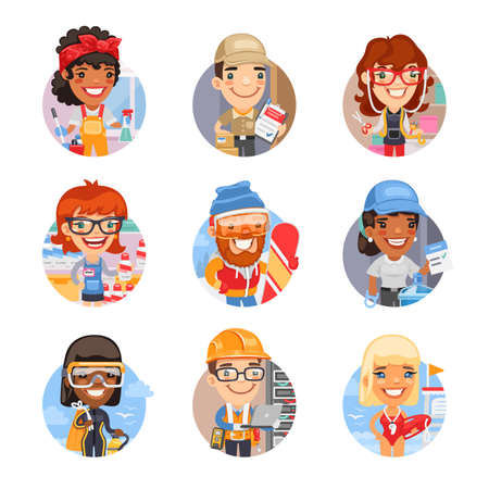 Cartoon People Avatars with Different Professions  イラスト・ベクター素材