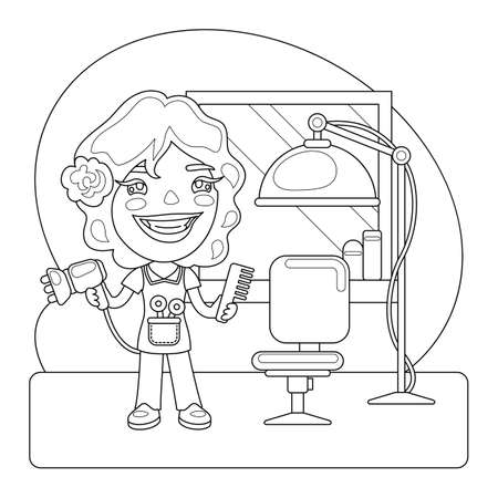 Hairdresser Coloring Page Ilustración de vector