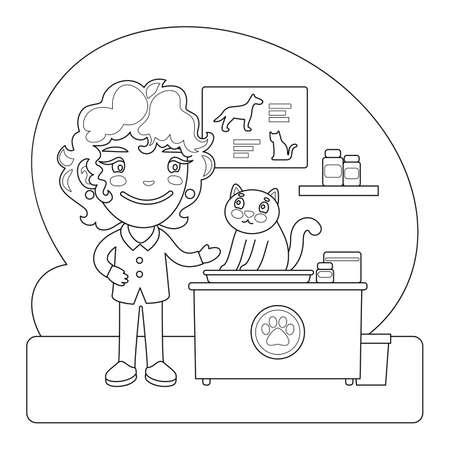 Vet Coloring Page Illustration